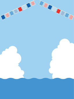 Sea and sky, clouds and flags 8