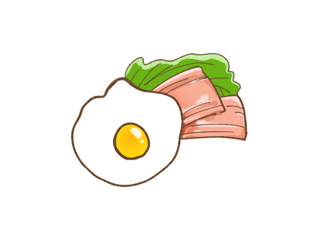 Fried eggs with bacon and lettuce