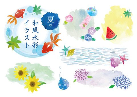 Summer Japanese-style water color illustration