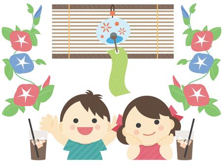Summer _ children _ wind bell _ illustration