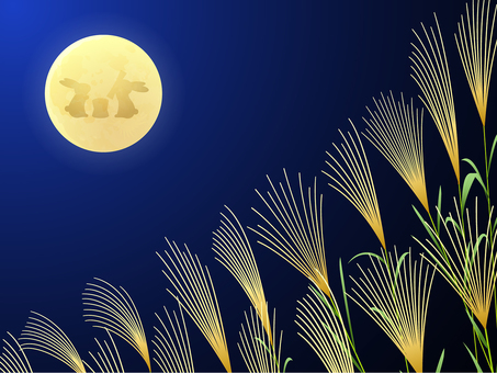 The background of the full moon and Susuki rabbits rice cakes