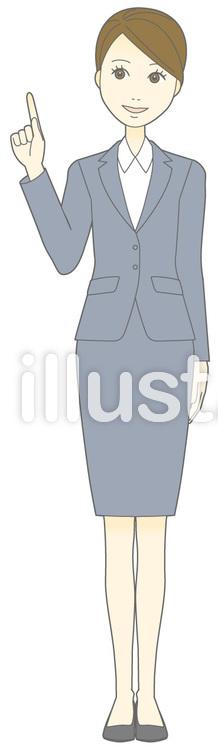 D女性スーツ-指差し2-全身のイラスト