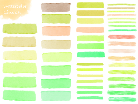 Watercolor line set green