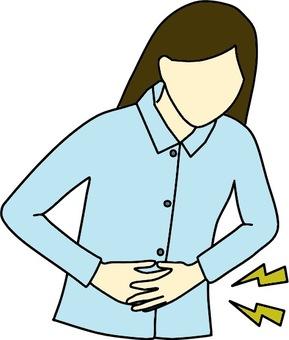 Stomach ache woman color