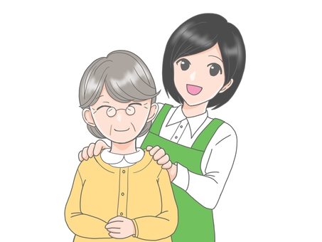 Care woman and grandmother