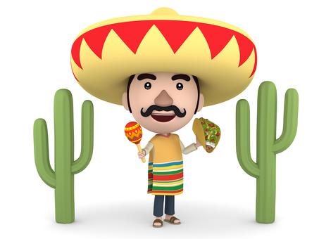 마라카스와 타코를 가진 멕시코 인
