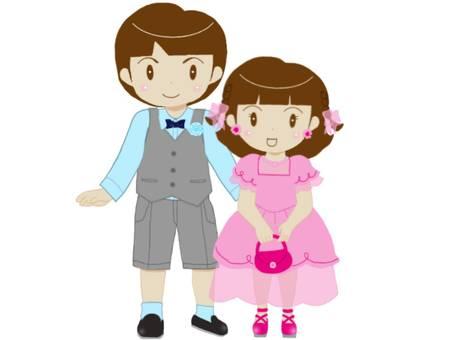 Siblings in formal clothes