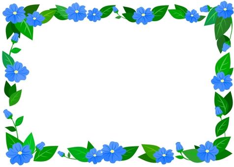 葉っぱと花フレーム(青)