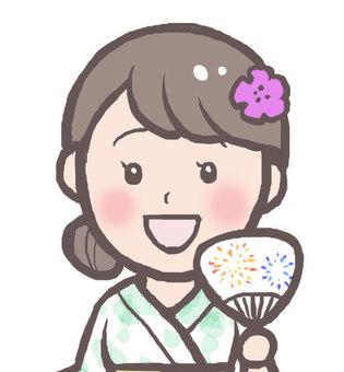 Yukata women (face up)