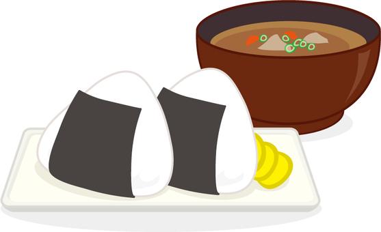 Rice balls and broth