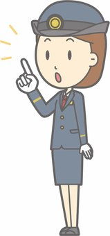 Station staff female a - finger pointing diagonal left - whole body