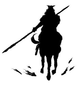 Warring States era warlord black silhouette