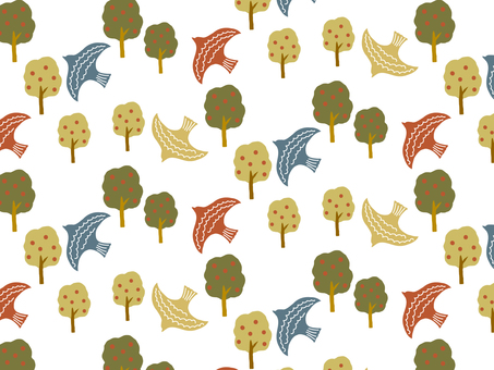 Trees and birds background pattern