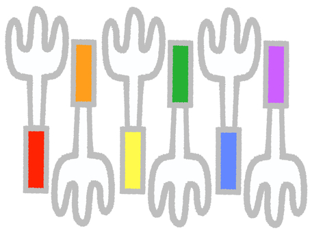 Multicolored forks
