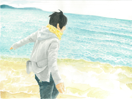 Watercolor Boys receiving winds by the seaside