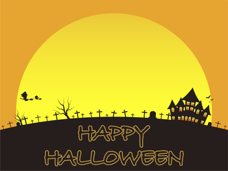 Halloween Full Moon and Cemetery Card (Orange)