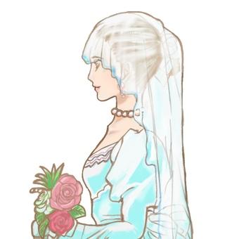 The profile of the bride
