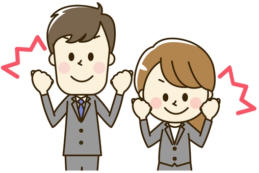 Male and female office worker wearing suit 2-3-2 Guts