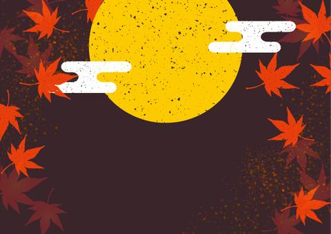 秋に使えるかもしれない背景素材 満月紅葉