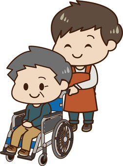 Wheelchair male and caregiver (male)