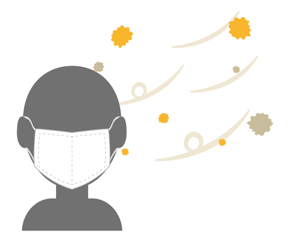 Person wearing a mask for pollen measures