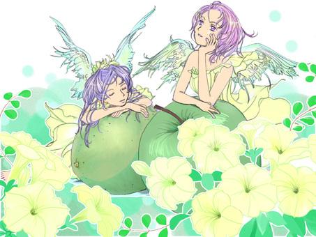 Apple angel background petunia