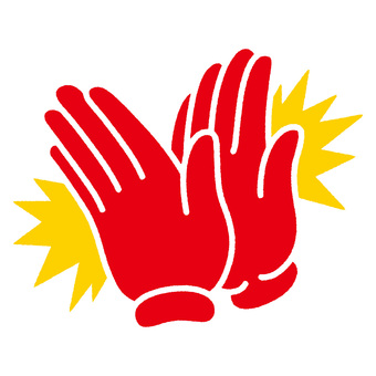 Clapping hand red