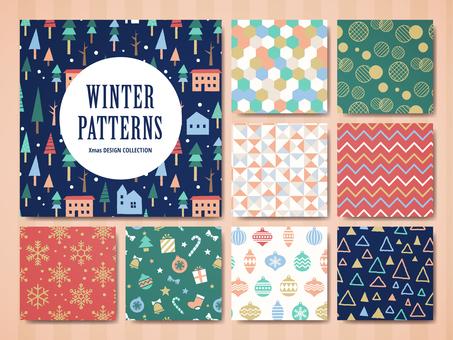 Winter decoration pattern set