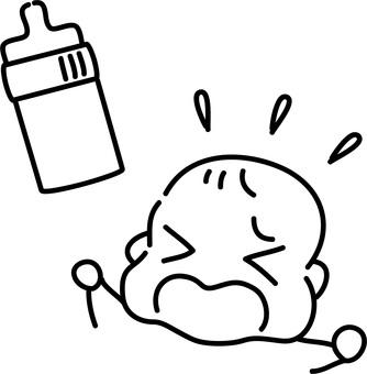 Hand drawn rough-baby wanting milk