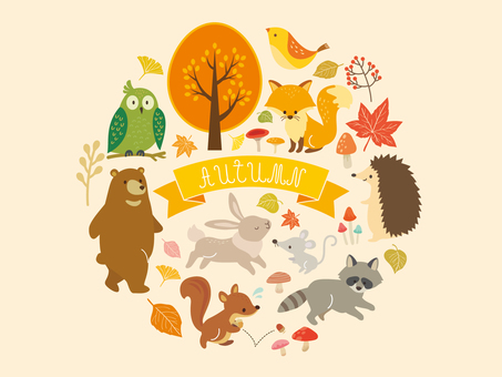 Autumn animals and plant illustration (2)