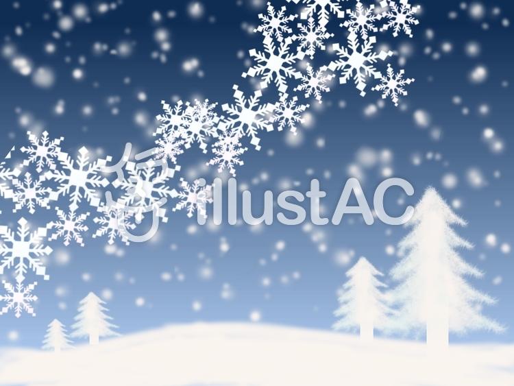 雪降る大地と雪の結晶④のイラスト