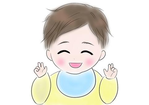 Hand play baby choki illustration