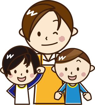 Male nursery teacher and children __A14