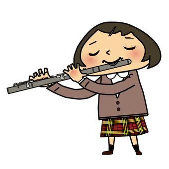 A girl playing a flute