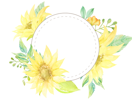 Watercolor hand-painted sunflower circular frame (transparent)