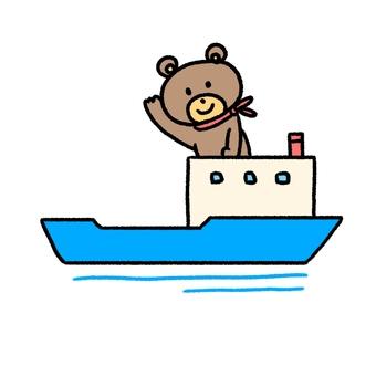 かわいいクマが乗っている船・手描き