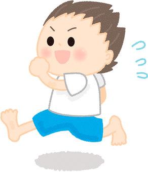 A boy running barefoot