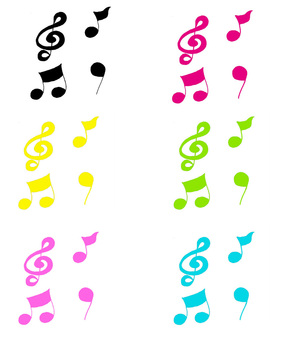 Musical note colorful set