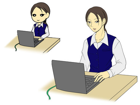 컴퓨터 앞에서 웃는 여성