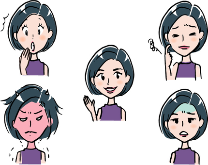 Female B facial expression 5 patterns
