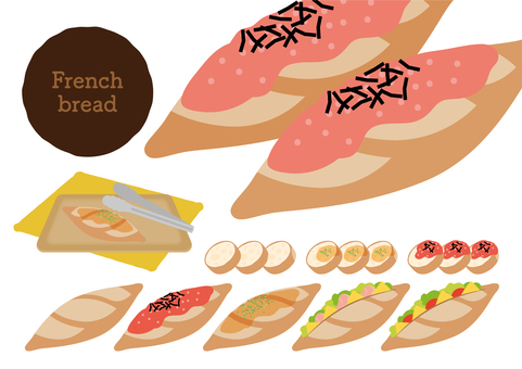 Various sets of french bread