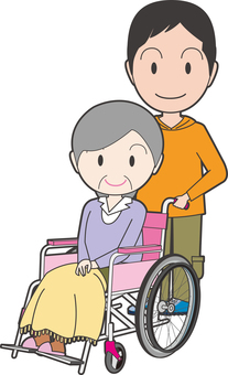 An old lady sitting in a wheelchair and an attendant's men