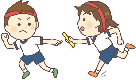 The baton pass of the relay (with Hachimaki)