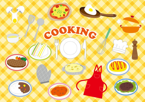 Cooking related illustrations set