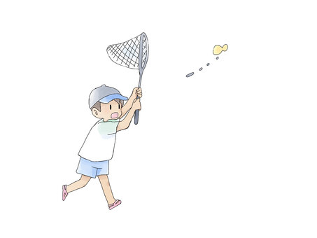 Boy chasing a butterfly