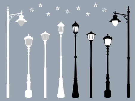 Hand-painted retro streetlight set silhouette