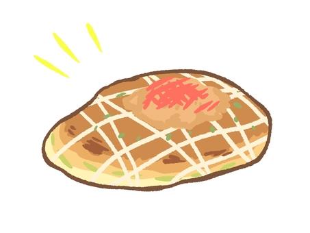 Okonomiyaki with a slight gap