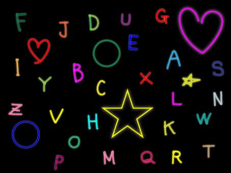 Neon-style alphabet