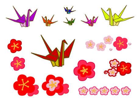 Crane and plum icon material