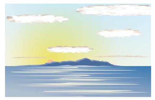 Sunrise Sunset Sea Island